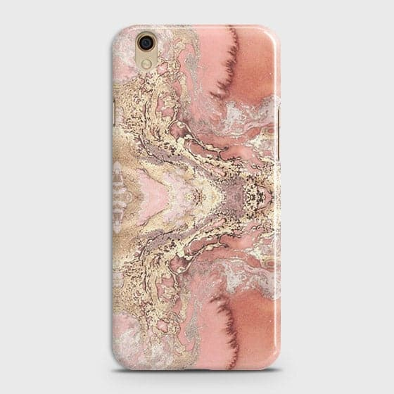 Oppo A37 Cover - Trendy Chic Rose Gold Marble Printed Hard Case with Life Time Colors Guarantee