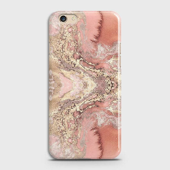 Trendy Chic Rose Gold Marble 3D Case For Oppo F3 Plus