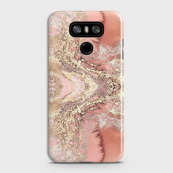 LG G6 Cover - Trendy Chic Rose Gold Marble Printed Hard Case with Life Time Colors Guarantee