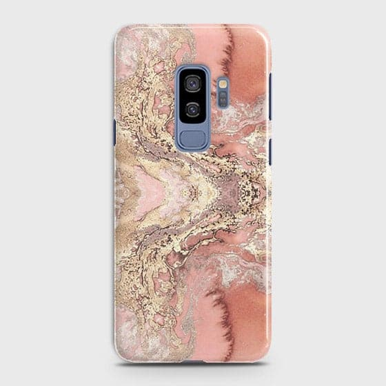 Samsung Galaxy S9 Plus Cover - Trendy Chic Rose Gold Marble Printed Hard Case with Life Time Colors Guarantee