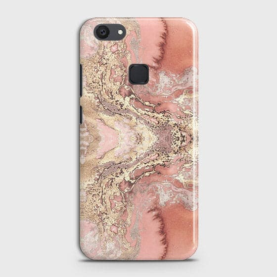 Vivo V7 Plus Cover - Trendy Chic Rose Gold Marble Printed Hard Case with Life Time Colors Guarantee Cover