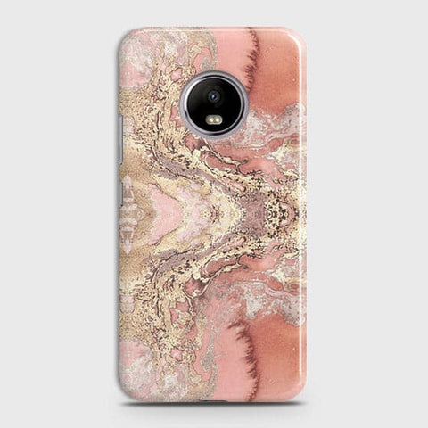 Trendy Chic Rose Gold Marble 3D Case For Motorola E4 Plus