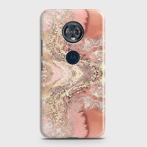 Trendy Chic Rose Gold Marble 3D Case For Motorola E5 Plus