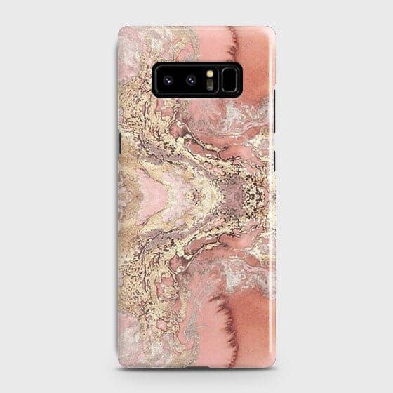 Samsung Galaxy Note 8 Cover - Trendy Chic Rose Gold Marble Printed Hard Case with Life Time Colors Guarantee