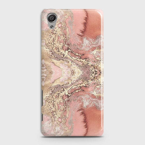 Trendy Chic Rose Gold Marble 3D Case For Sony Xperia XA
