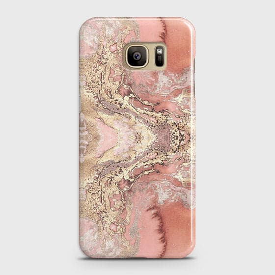 Samsung Galaxy S7 Cover - Trendy Chic Rose Gold Marble Printed Hard Case with Life Time Colors Guarantee