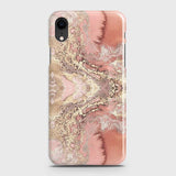 iPhone XR Cover - Trendy Chic Rose Gold Marble Printed Hard Case with Life Time Colors Guarantee(1)
