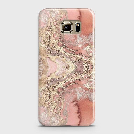 Samsung Galaxy S6 Edge Cover - Trendy Chic Rose Gold Marble Printed Hard Case with Life Time Colors Guarantee