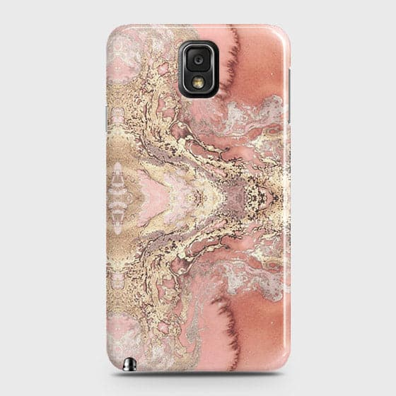 Samsung Galaxy Note 3 Cover - Trendy Chic Rose Gold Marble Printed Hard Case with Life Time Colors Guarantee