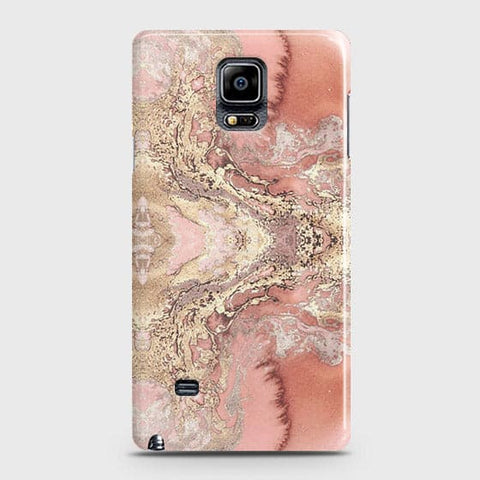 Samsung Galaxy Note 4 Cover - Trendy Chic Rose Gold Marble Printed Hard Case with Life Time Colors Guarantee