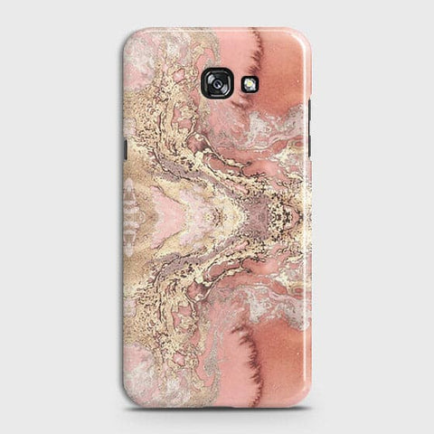 Samsung A3 2017 Cover - Trendy Chic Rose Gold Marble Printed Hard Case with Life Time Colors Guarantee