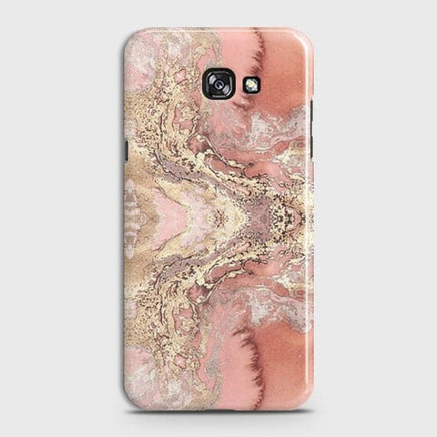 Samsung A7 2017 Cover - Trendy Chic Rose Gold Marble Printed Hard Case with Life Time Colors Guarantee
