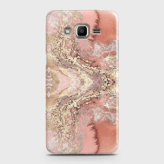 Samsung Galaxy J5 Cover - Trendy Chic Rose Gold Marble Printed Hard Case with Life Time Colors Guarantee