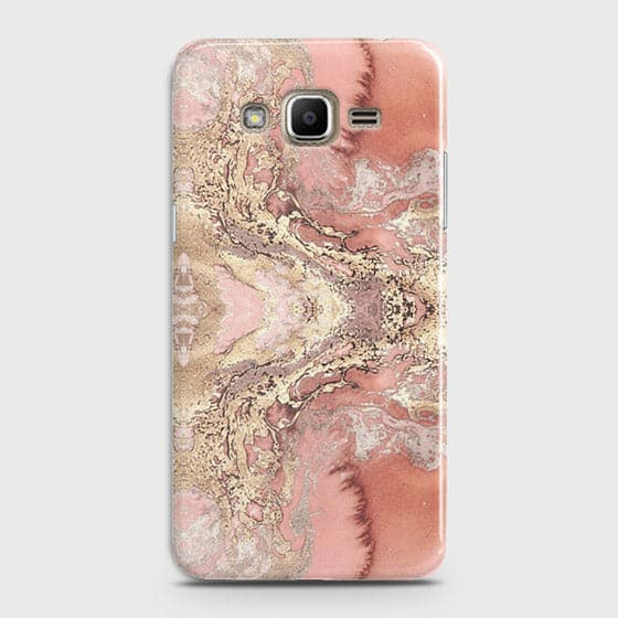 Samsung Galaxy J320 / J3 2016 Cover - Trendy Chic Rose Gold Marble Printed Hard Case with Life Time Colors Guarantee