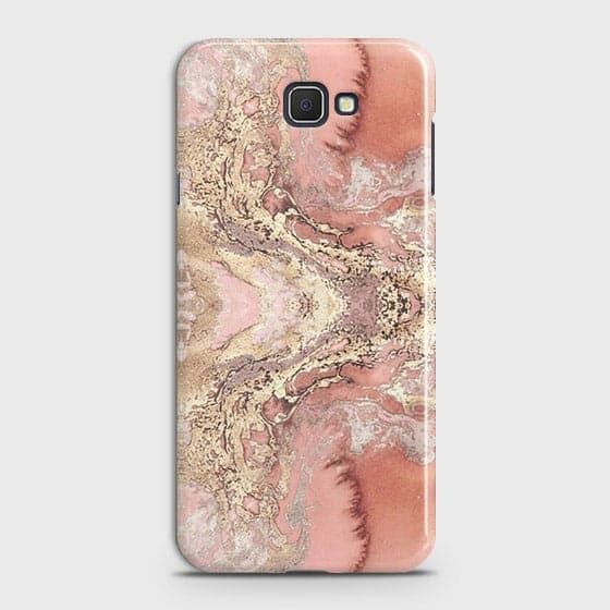 Samsung Galaxy J7 Prime Cover - Trendy Chic Rose Gold Marble Printed Hard Case with Life Time Colors Guarantee