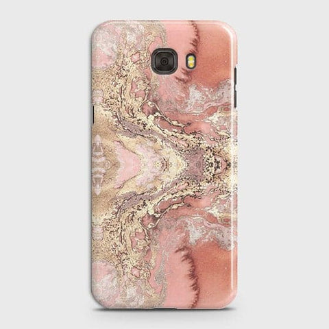 Trendy Chic Rose Gold Marble 3D Case For Samsung C7