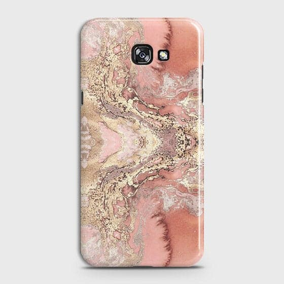 Samsung Galaxy J4 Plus Cover - Trendy Chic Rose Gold Marble Printed Hard Case with Life Time Colors Guarantee