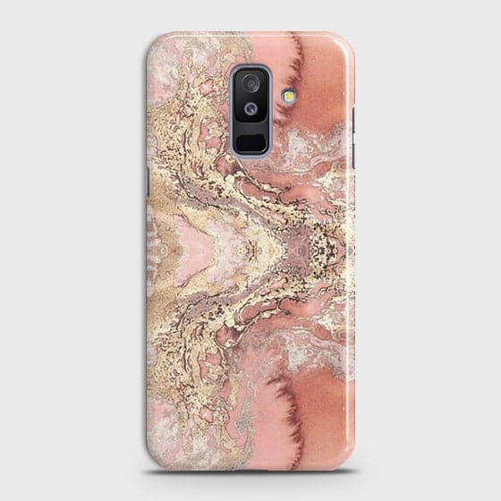 Samsung Galaxy J8 2018 Cover - Trendy Chic Rose Gold Marble Printed Hard Case with Life Time Colors Guarantee