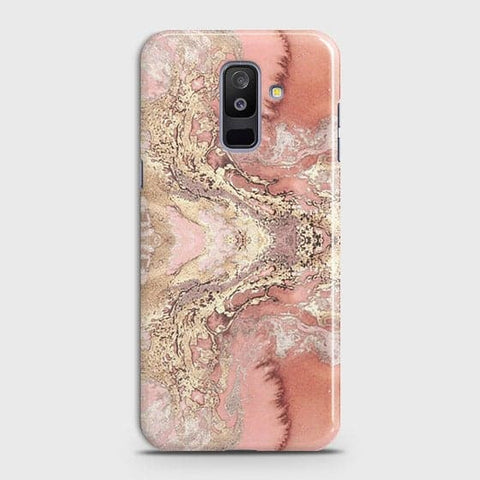 Trendy Chic Rose Gold Marble 3D Case For Samsung Galaxy J8 2018