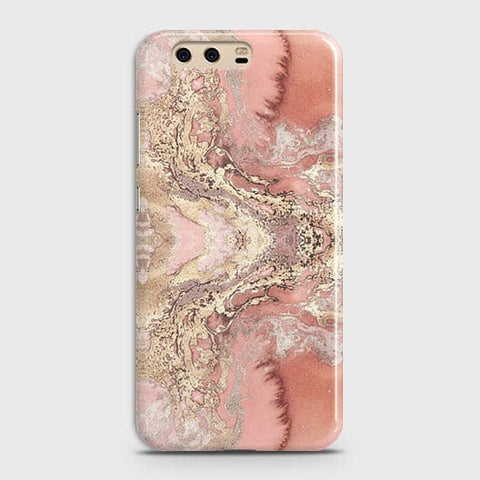 Trendy Chic Rose Gold Marble 3D Case For Huawei P10