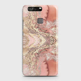 Trendy Chic Rose Gold Marble 3D Case For Huawei P9