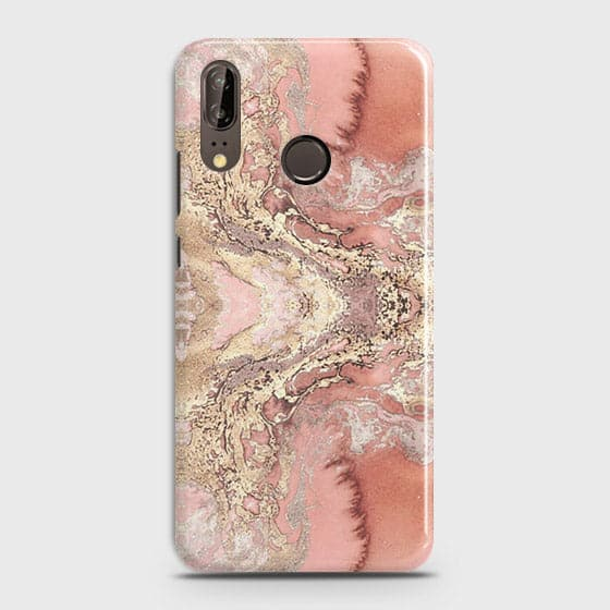 Huawei P20 Cover - Trendy Chic Rose Gold Marble Printed Hard Case with Life Time Colors Guarantee