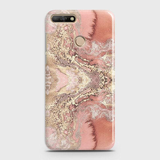 Huawei Y7 2018 Cover - Trendy Chic Rose Gold Marble Printed Hard Case with Life Time Colors Guarantee