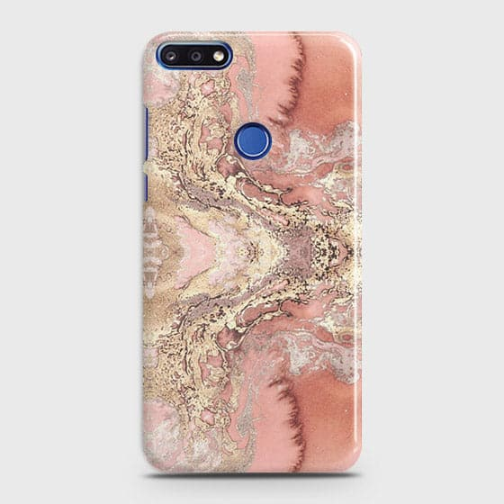 Huawei Y7 Prime 2018 Cover - Trendy Chic Rose Gold Marble Printed Hard Case with Life Time Colors Guarantee