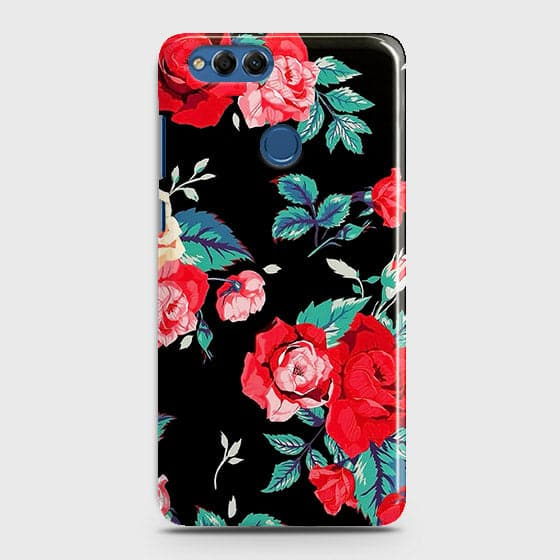 Huawei Honor 7X Cover - Luxury Vintage Red Flowers Printed Hard Case with Life Time Colors Guarantee