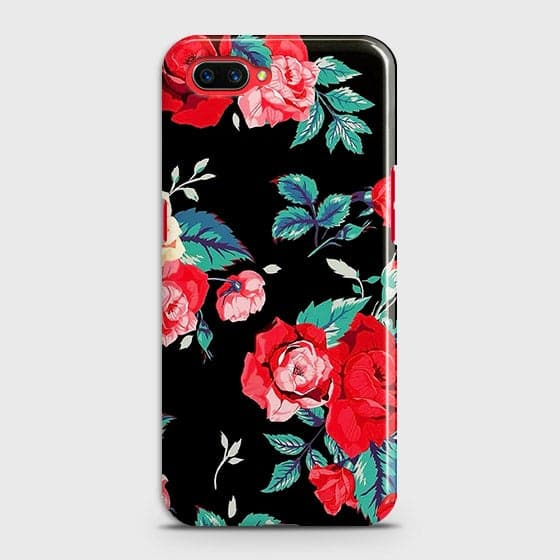 Oppo A3S Cover - Luxury Vintage Red Flowers Printed Hard Case with Life Time Colors Guarantee
