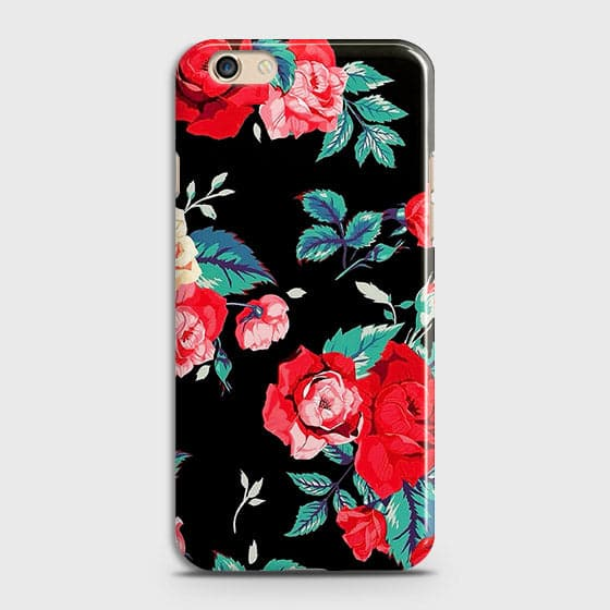 Oppo F1S Cover - Luxury Vintage Red Flowers Printed Hard Case with Life Time Colors Guarantee