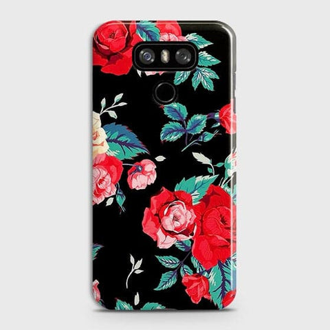Luxury Vintage Red Flowers Case For LG G6