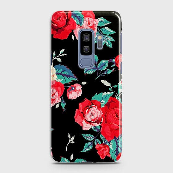 Samsung Galaxy S9 Plus Cover - Luxury Vintage Red Flowers Printed Hard Case with Life Time Colors Guarantee