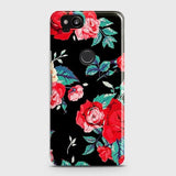 Google Pixel 2 Cover - Luxury Vintage Red Flowers Printed Hard Case with Life Time Colors Guarantee