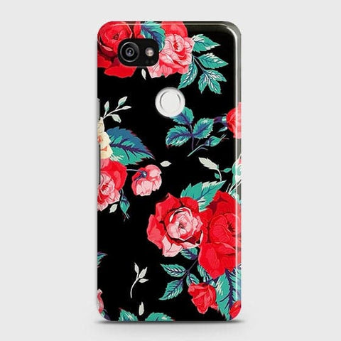Google Pixel 2 XL Cover - Luxury Vintage Red Flowers Printed Hard Case with Life Time Colors Guarantee
