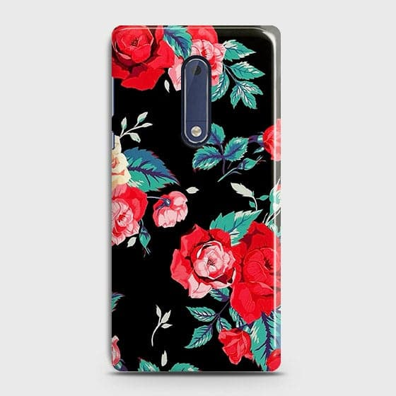 Nokia 5 Cover - Luxury Vintage Red Flowers Printed Hard Case with Life Time Colors Guarantee