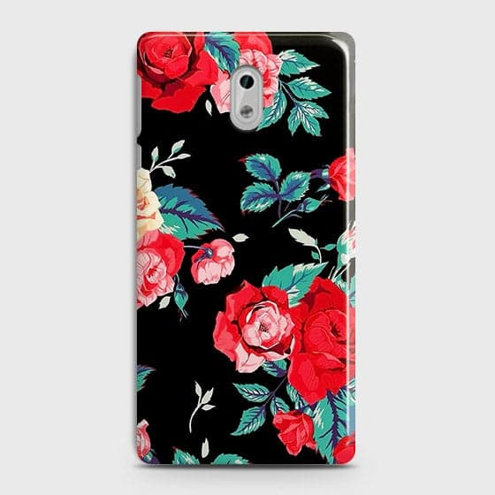 Nokia 6 Cover - Luxury Vintage Red Flowers Printed Hard Case with Life Time Colors Guarantee