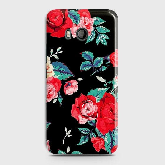 HTC U11 Cover - Luxury Vintage Red Flowers Printed Hard Case with Life Time Colors Guarantee