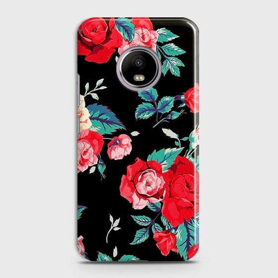 Motorola E4 Plus Cover - Luxury Vintage Red Flowers Printed Hard Case with Life Time Colors Guarantee