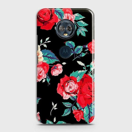Luxury Vintage Red Flowers Case For Motorola E5 Plus