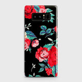 Samsung Galaxy Note 8 Cover - Luxury Vintage Red Flowers Printed Hard Case with Life Time Colors Guarantee