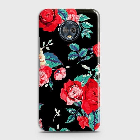 Motorola Moto G6 Cover - Luxury Vintage Red Flowers Printed Hard Case with Life Time Colors Guarantee
