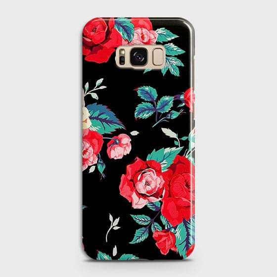 Samsung Galaxy S8 Cover - Luxury Vintage Red Flowers Printed Hard Case with Life Time Colors Guarantee