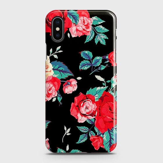 iPhone XS Max Cover - Luxury Vintage Red Flowers Printed Hard Case with Life Time Colors Guarantee