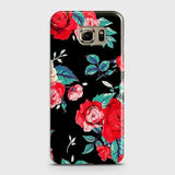 Samsung Galaxy S6 Edge Cover - Luxury Vintage Red Flowers Printed Hard Case with Life Time Colors Guarantee
