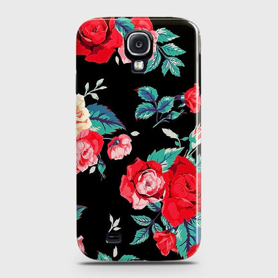 Samsung Galaxy S4 Cover - Luxury Vintage Red Flowers Printed Hard Case with Life Time Colors Guarantee