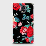 Samsung Galaxy Note 4 Cover - Luxury Vintage Red Flowers Printed Hard Case with Life Time Colors Guarantee
