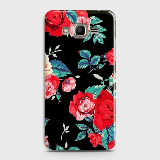 Samsung Galaxy J7 Cover - Luxury Vintage Red Flowers Printed Hard Case with Life Time Colors Guarantee