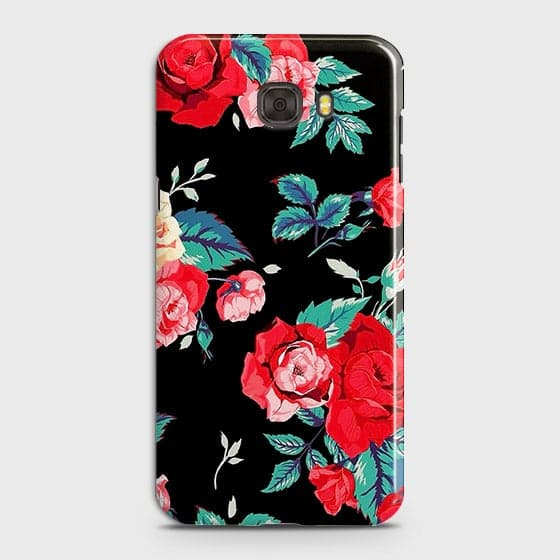 Samsung C7 Cover - Luxury Vintage Red Flowers Printed Hard Case with Life Time Colors Guarantee