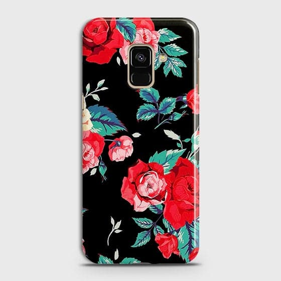 Samsung A8 2018 Cover - Luxury Vintage Red Flowers Printed Hard Case with Life Time Colors Guarantee